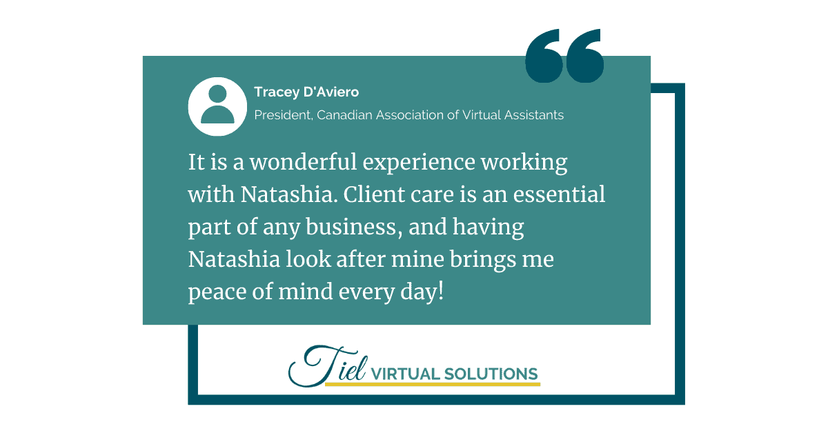 Client testimonial for Tiel Virtual Solutions
